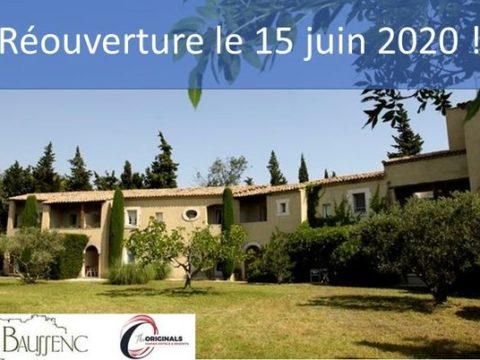 L'hôtel restaurant Val Baussenc The Originals rouvrira le 15 juin après la parenthèse de la Covid-19. Réservez votre séjour en Provence : hotellerie et restauration The Originals 3 étoiles